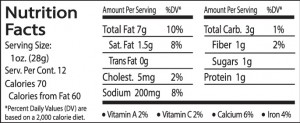Greek JAL Nutrition facts