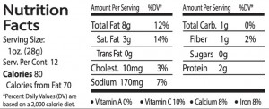 Spanish JAL Nutrition facts