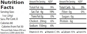 fresh mozz nutrition facts