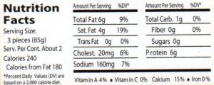 prosciutto AW nutrition facts